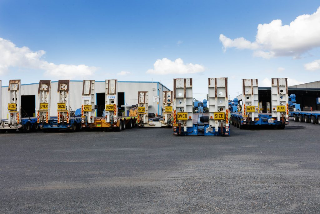 Just a few of the heavy haulage trailer fleet at Centurion's Rocklea base.