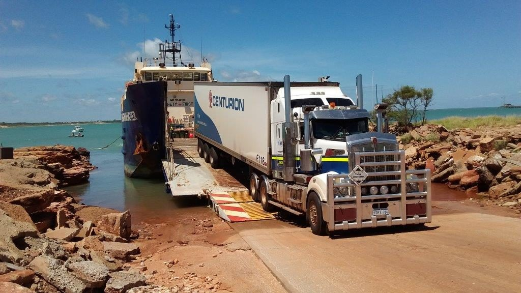 Centurion freight unloaded from the barge in Broome