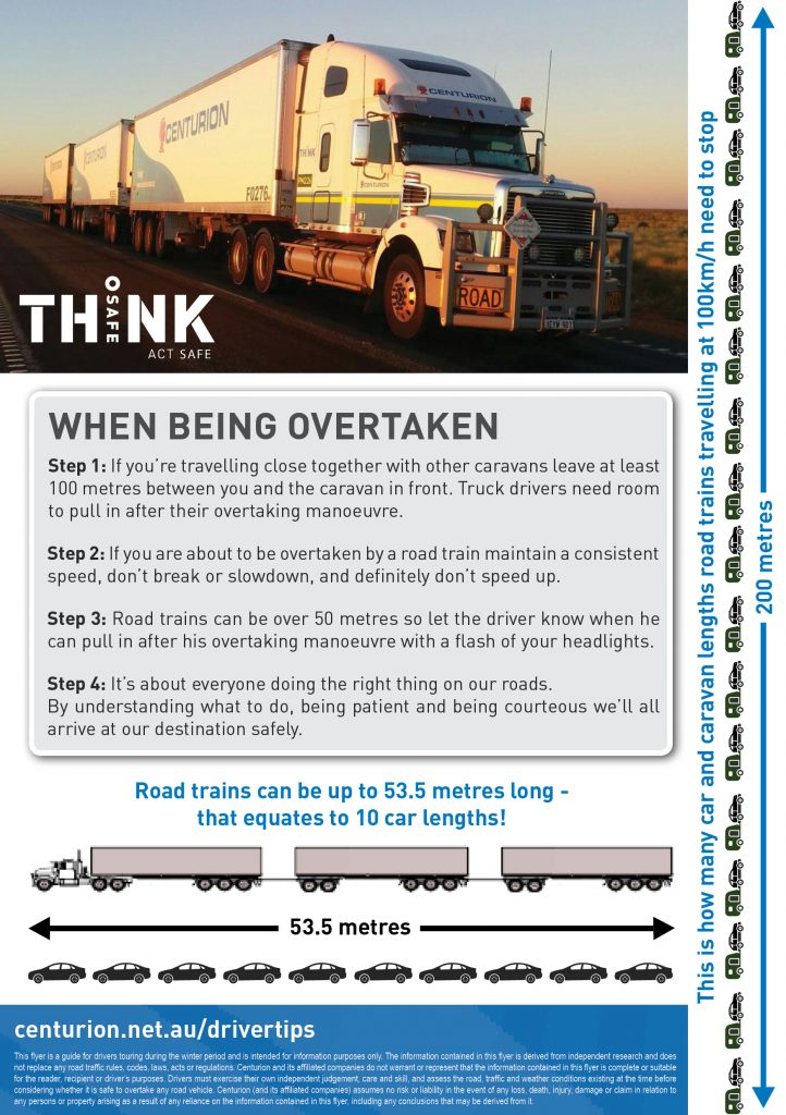 Driver Tips for road safety for grey nomads and tourists around road trains