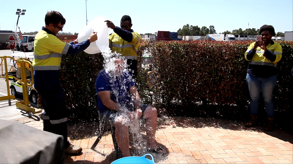 Centurion's DM Yard Operations Darren Fox having the ice bucket poured over him after the fundraising targets were met.